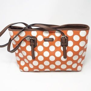 DANA BUCHMAN VEGAN Orange/White Polka Dot Satchel